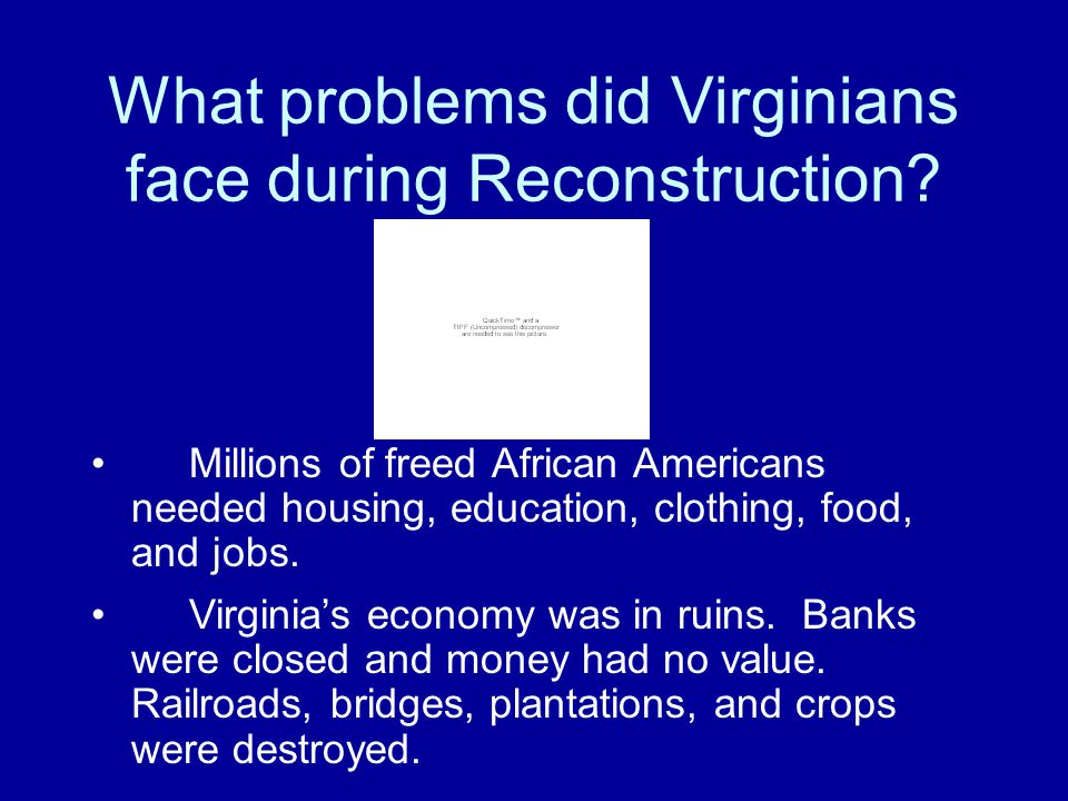 What problems did Virginians face during Reconstruction