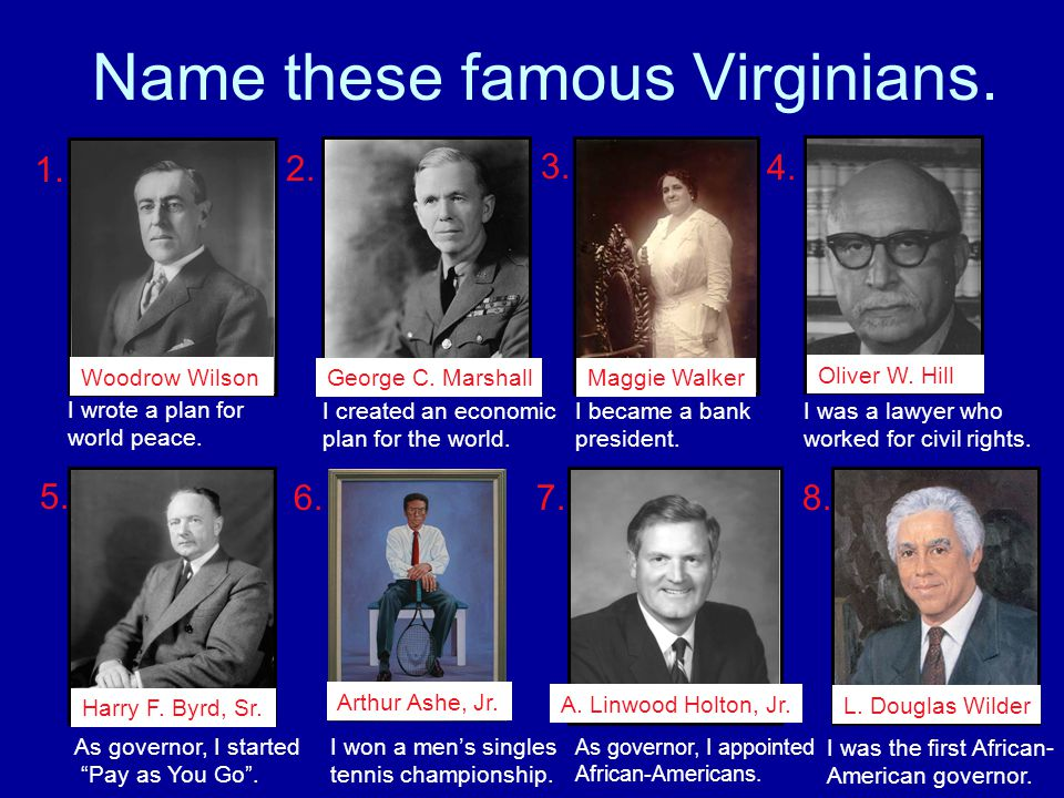 Name these famous Virginians.