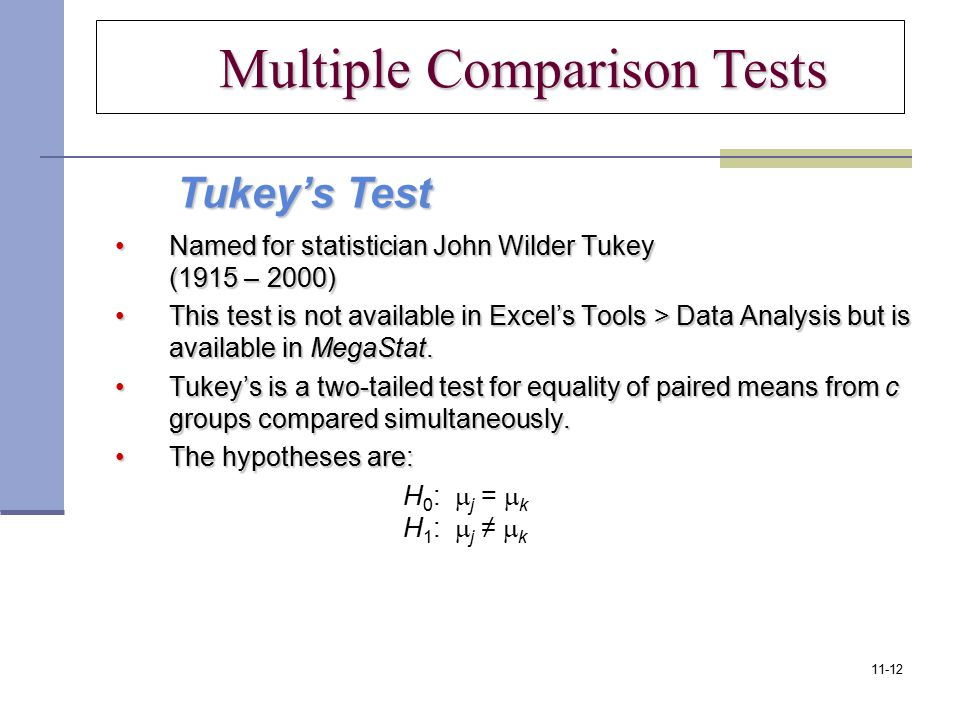 Multiple Comparison Tests