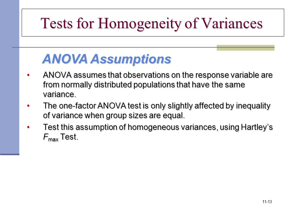 Tests for Homogeneity of Variances