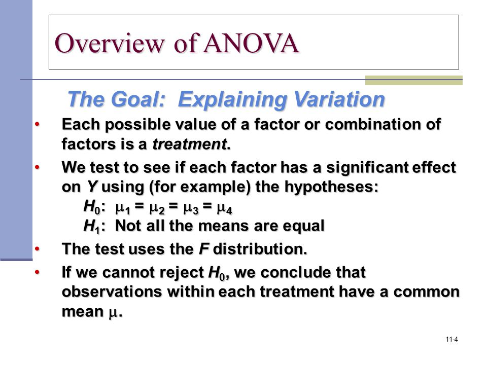 Overview of ANOVA The Goal: Explaining Variation