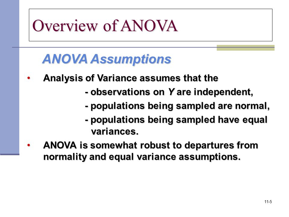 Overview of ANOVA ANOVA Assumptions