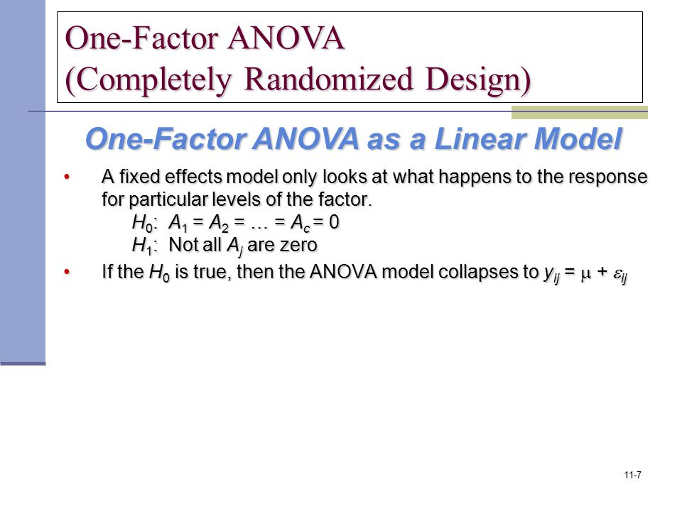 One-Factor ANOVA (Completely Randomized Design)