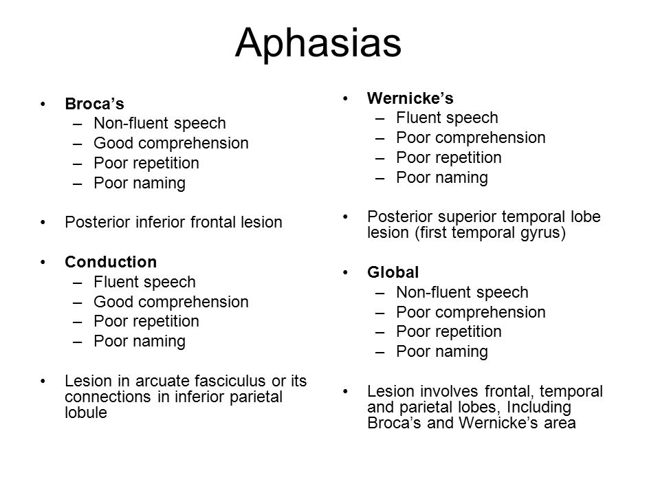 Aphasias Wernicke's Broca's Fluent speech Non-fluent speech