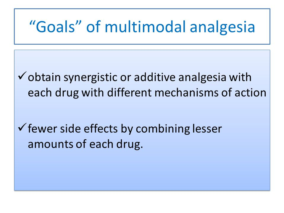 Goals of multimodal analgesia