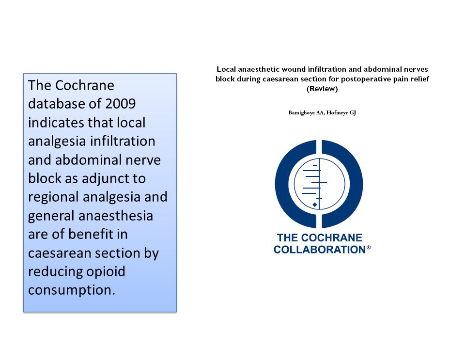 The Cochrane database of 2009 indicates that local analgesia infiltration and abdominal nerve block as adjunct to regional analgesia and general anaesthesia are of benefit in caesarean section by reducing opioid consumption.