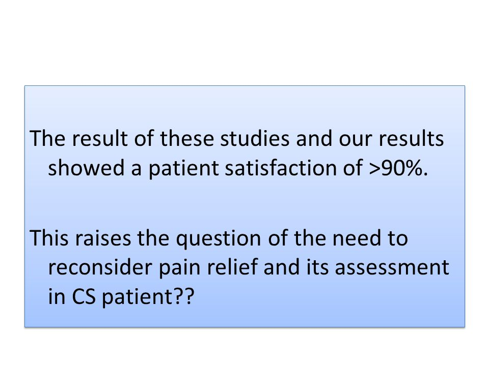 The result of these studies and our results showed a patient satisfaction of >90%.