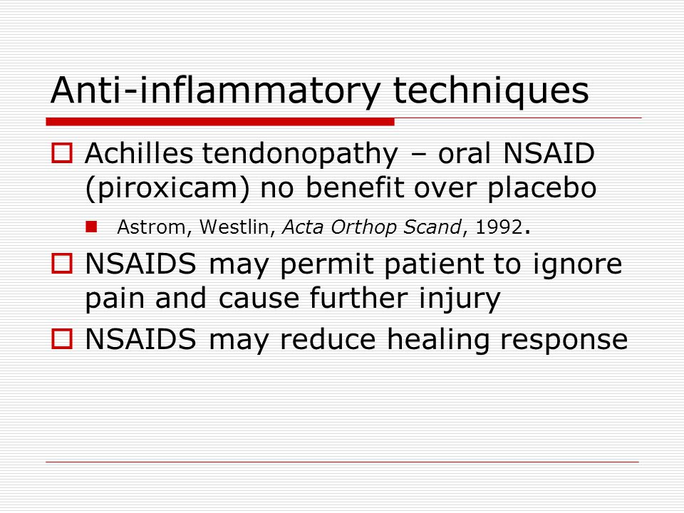 Anti-inflammatory techniques