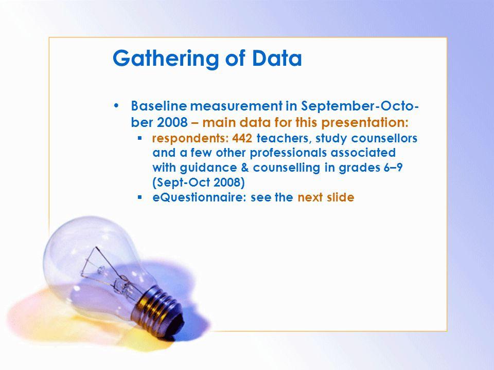 Gathering of Data Baseline measurement in September-Octo-ber 2008 – main data for this presentation: