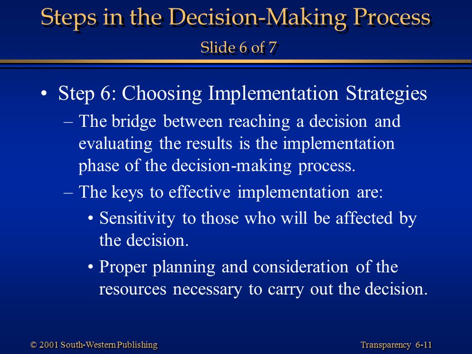 Steps in the Decision-Making Process Slide 6 of 7
