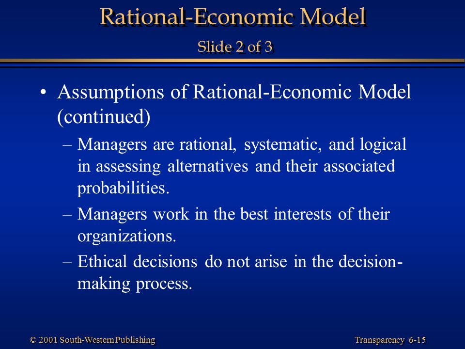 Rational-Economic Model Slide 2 of 3