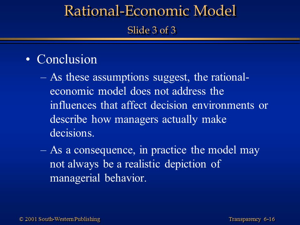 Rational-Economic Model Slide 3 of 3