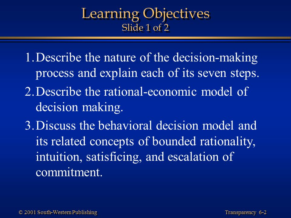 Learning Objectives Slide 1 of 2