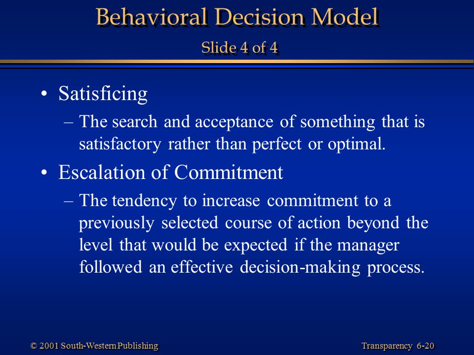 Behavioral Decision Model Slide 4 of 4