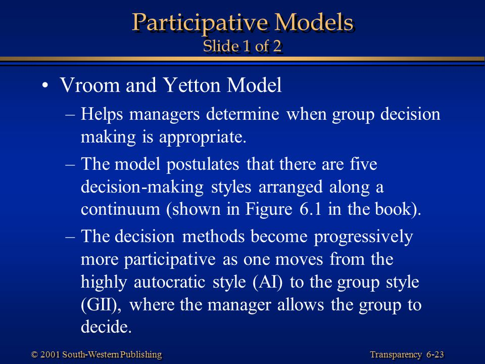 Participative Models Slide 1 of 2