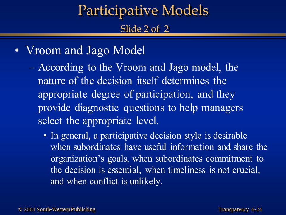 Participative Models Slide 2 of 2