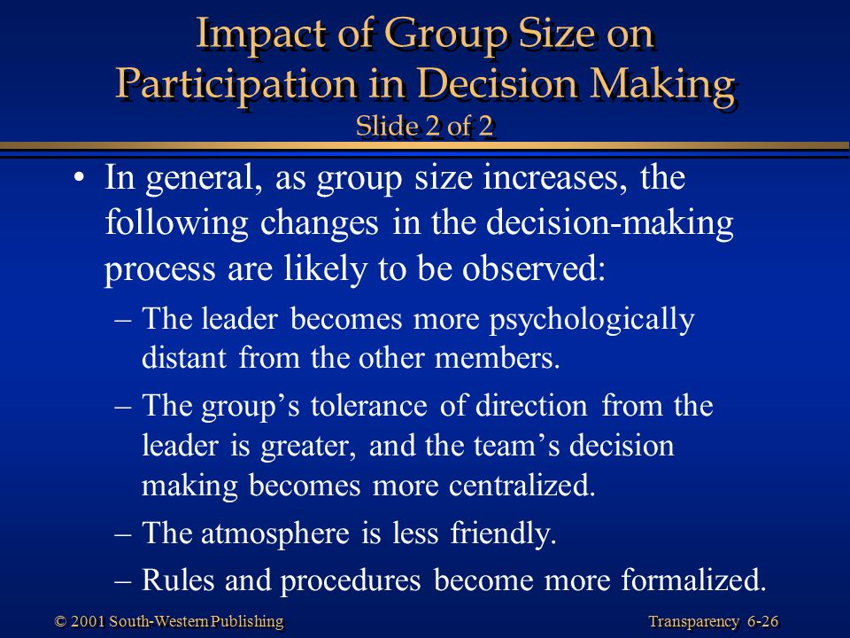 Impact of Group Size on Participation in Decision Making Slide 2 of 2