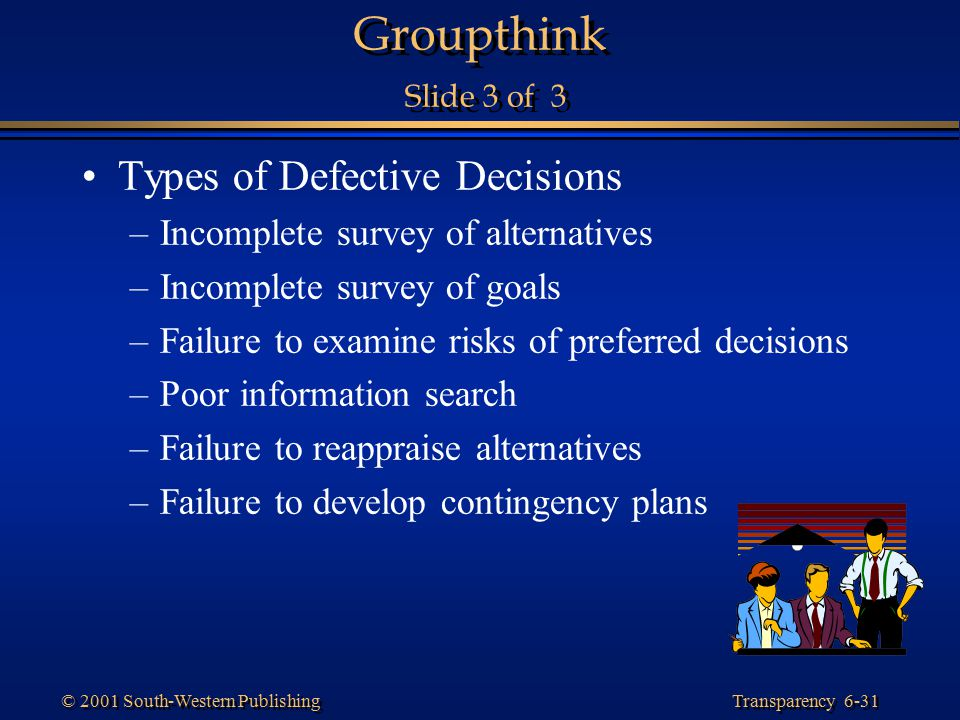 Groupthink Slide 3 of 3 Types of Defective Decisions