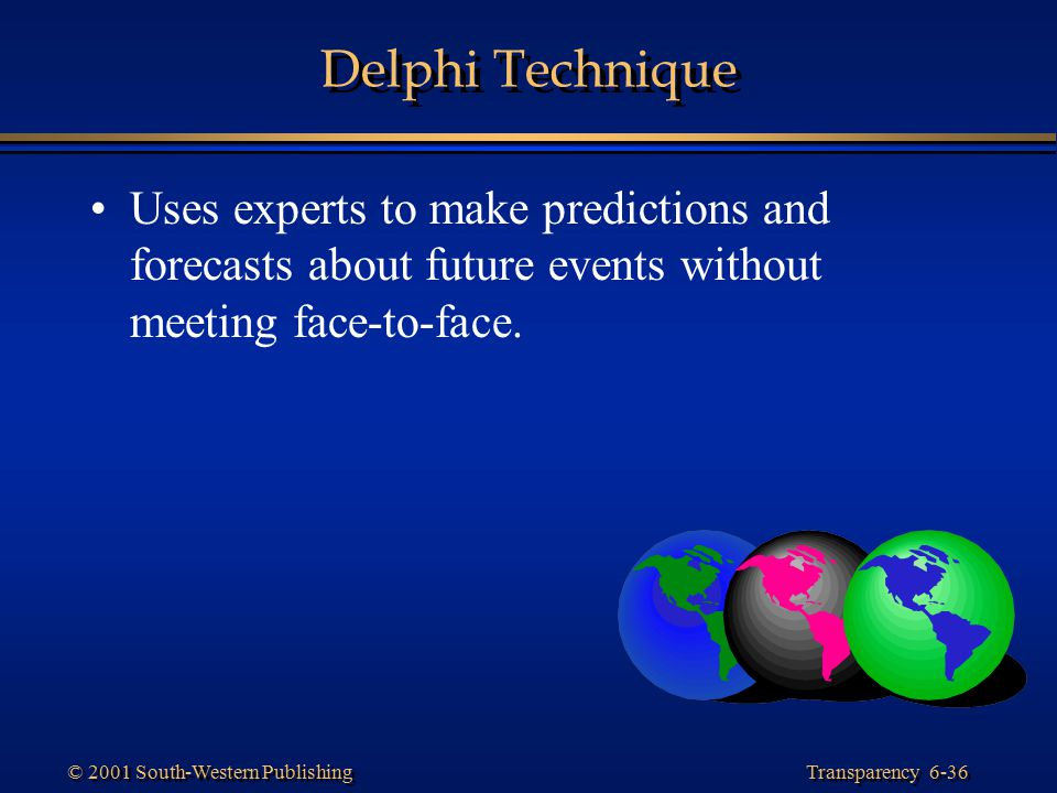 Delphi Technique Uses experts to make predictions and forecasts about future events without meeting face-to-face.