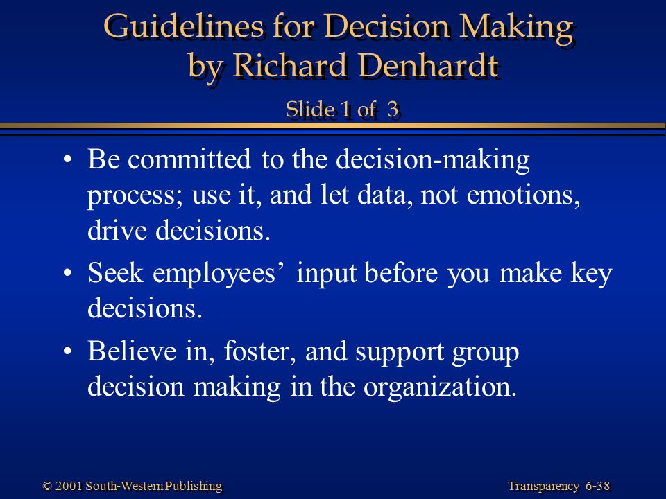 Guidelines for Decision Making by Richard Denhardt Slide 1 of 3