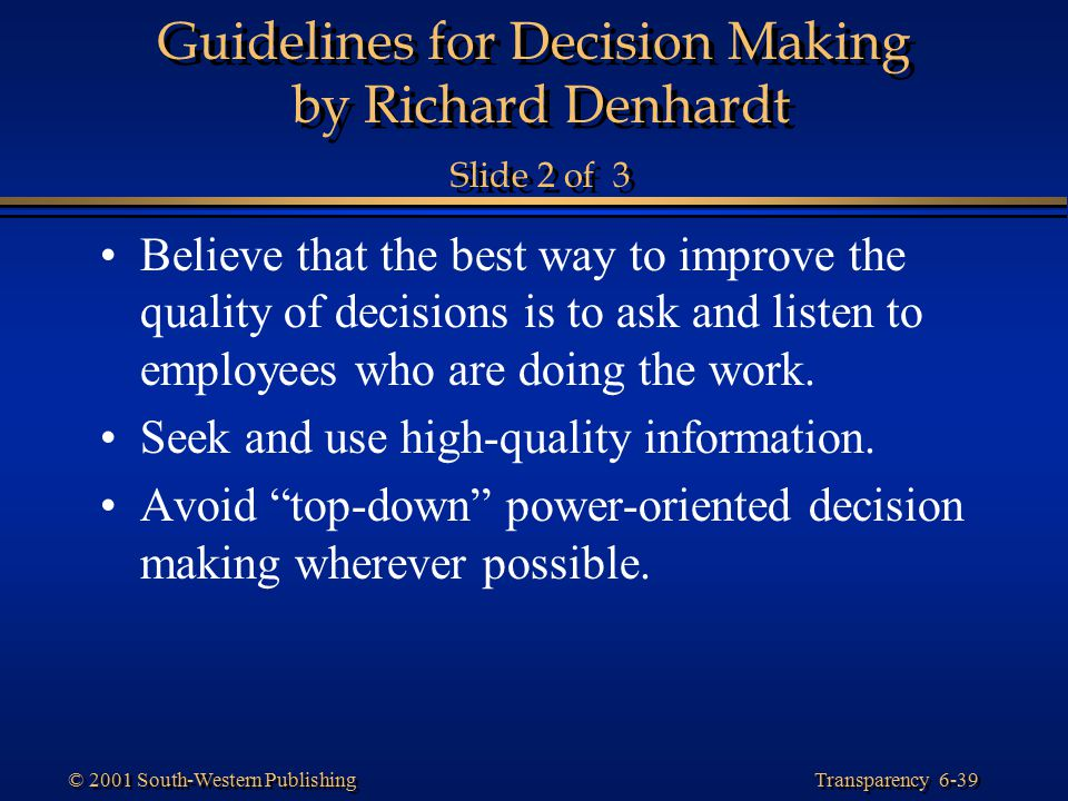 Guidelines for Decision Making by Richard Denhardt Slide 2 of 3