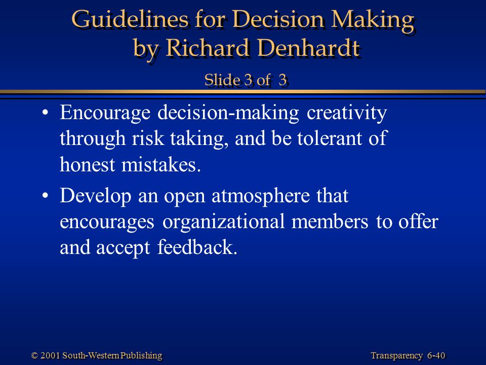 Guidelines for Decision Making by Richard Denhardt Slide 3 of 3