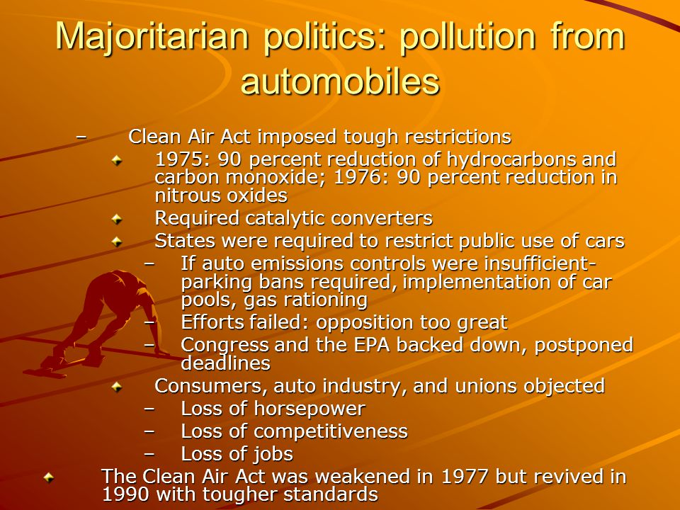 Majoritarian politics: pollution from automobiles