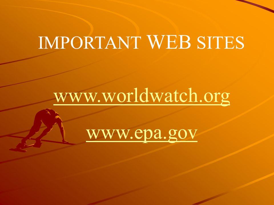 IMPORTANT WEB SITES www.worldwatch.org www.epa.gov