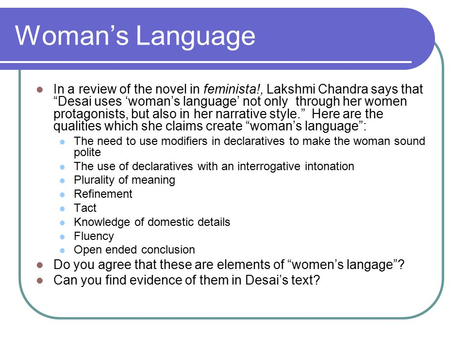 Woman's Language