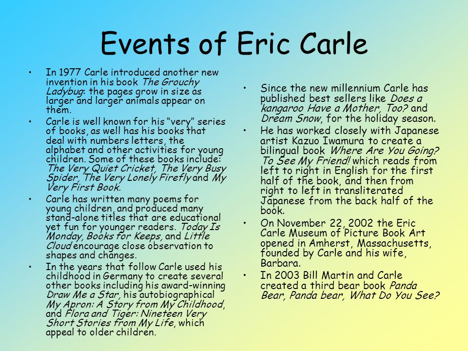 Events of Eric Carle