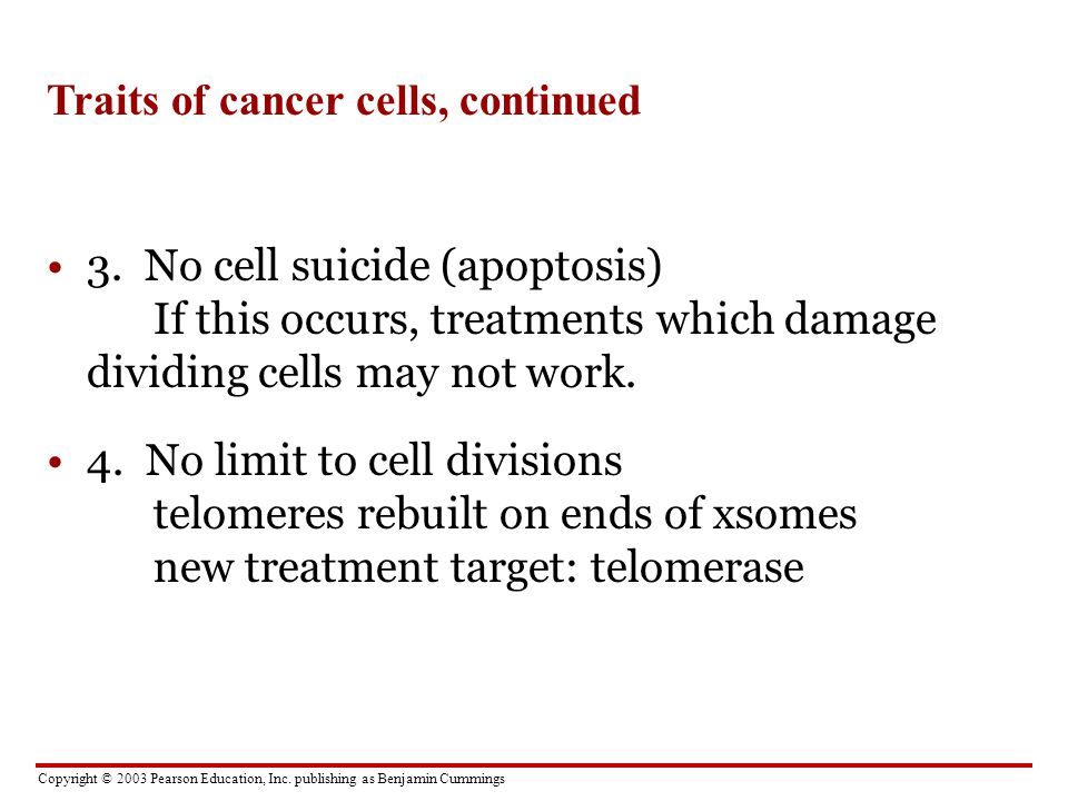 Traits of cancer cells, continued