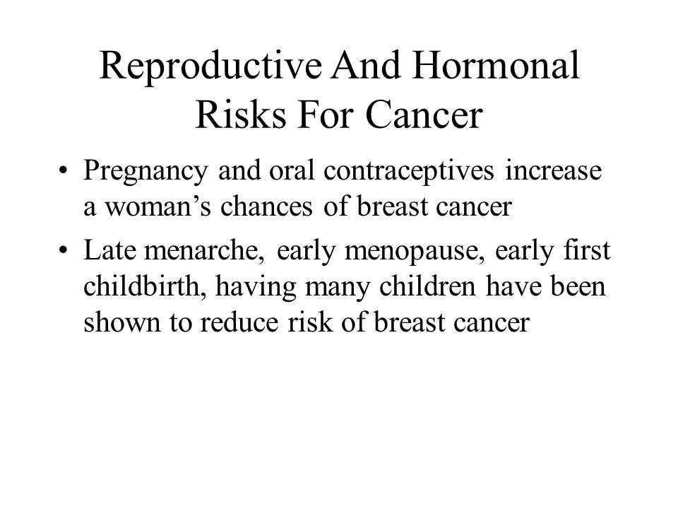 Reproductive And Hormonal Risks For Cancer
