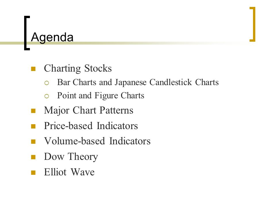 Agenda Charting Stocks Major Chart Patterns Price-based Indicators