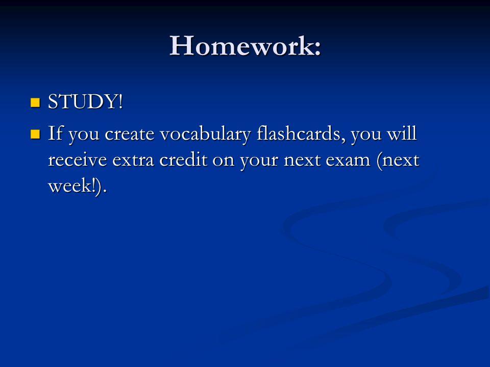 Homework: STUDY.