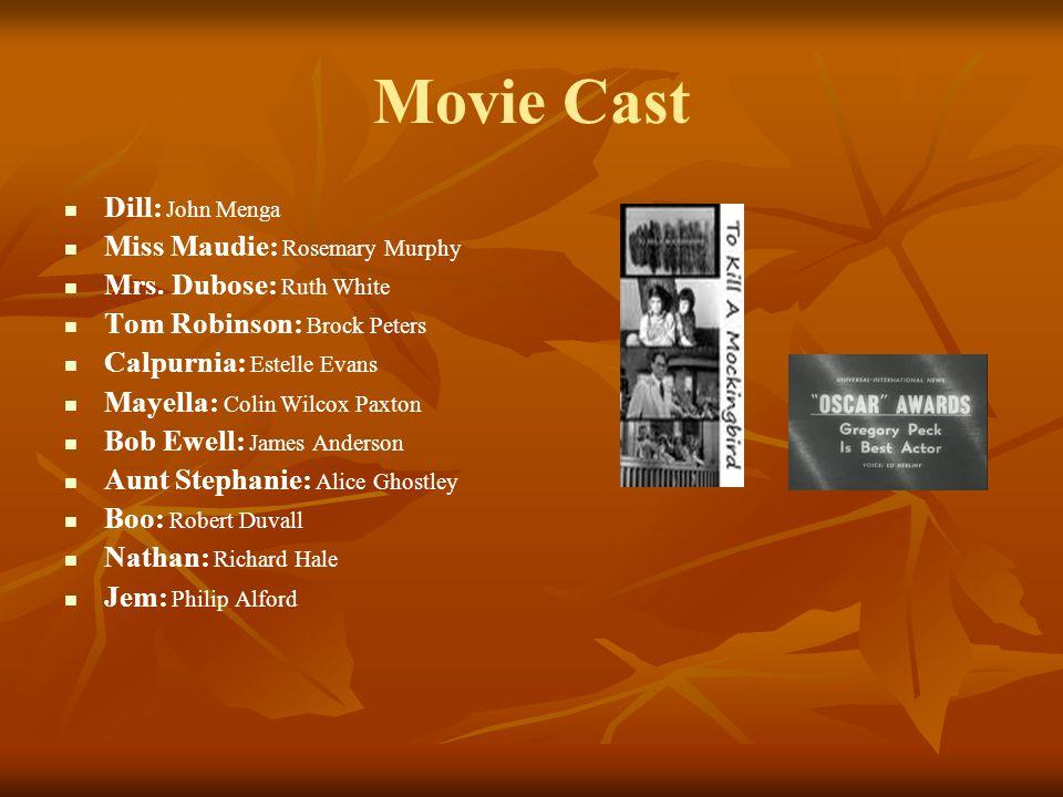 Movie Cast Dill: John Menga Miss Maudie: Rosemary Murphy