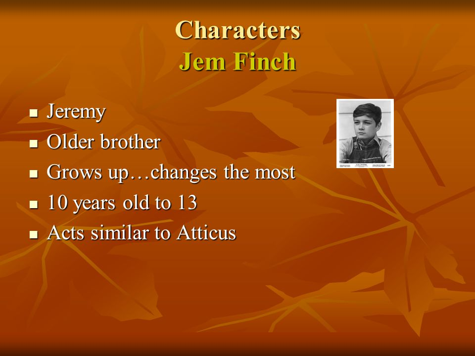 Characters Jem Finch Jeremy Older brother Grows up…changes the most