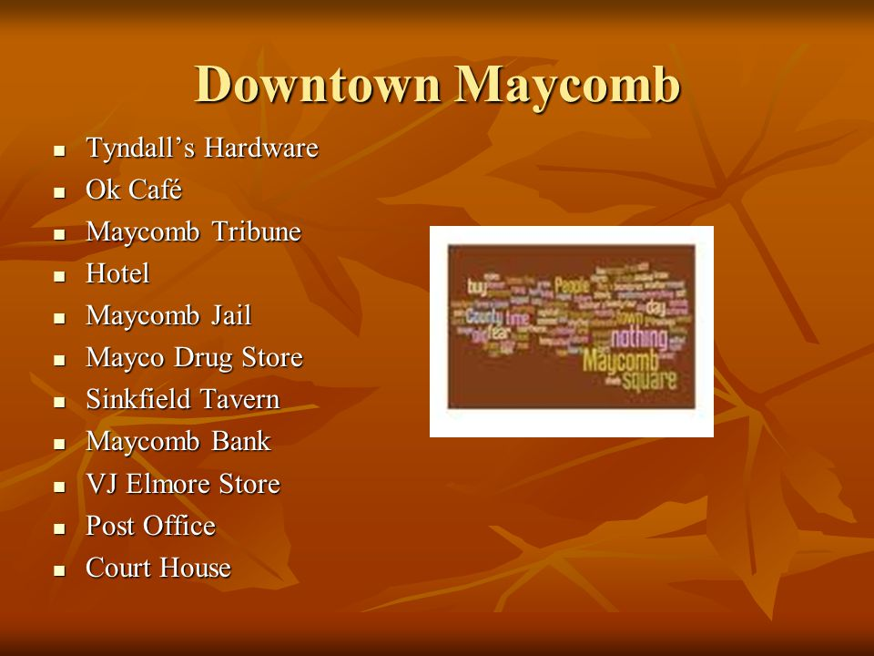 Downtown Maycomb Tyndall's Hardware Ok Café Maycomb Tribune Hotel