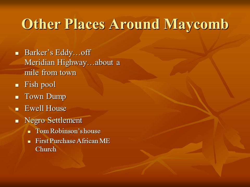 Other Places Around Maycomb