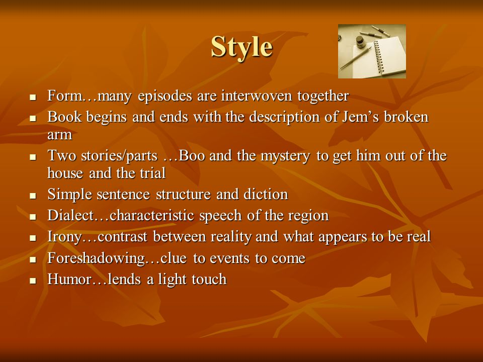 Style Form…many episodes are interwoven together