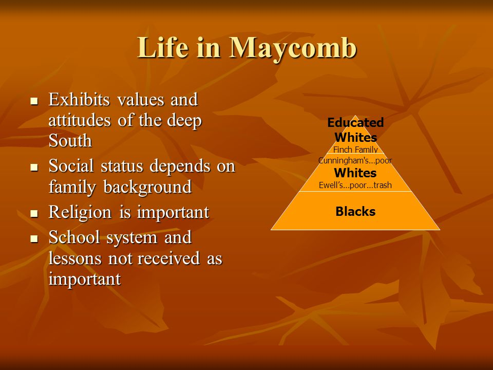 Life in Maycomb Exhibits values and attitudes of the deep South
