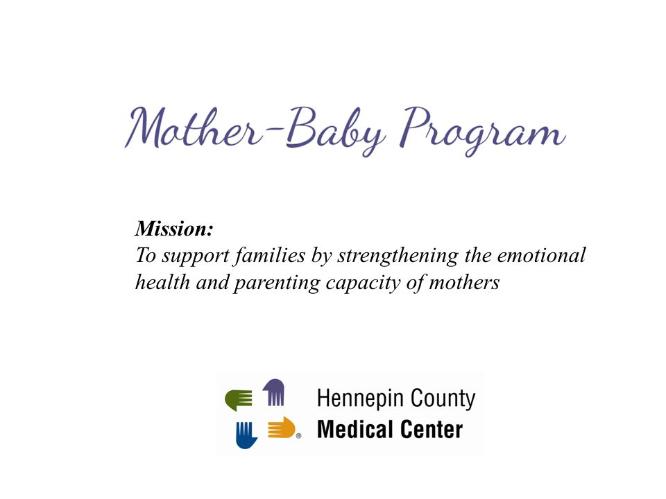Mission: To support families by strengthening the emotional health and parenting capacity of mothers.