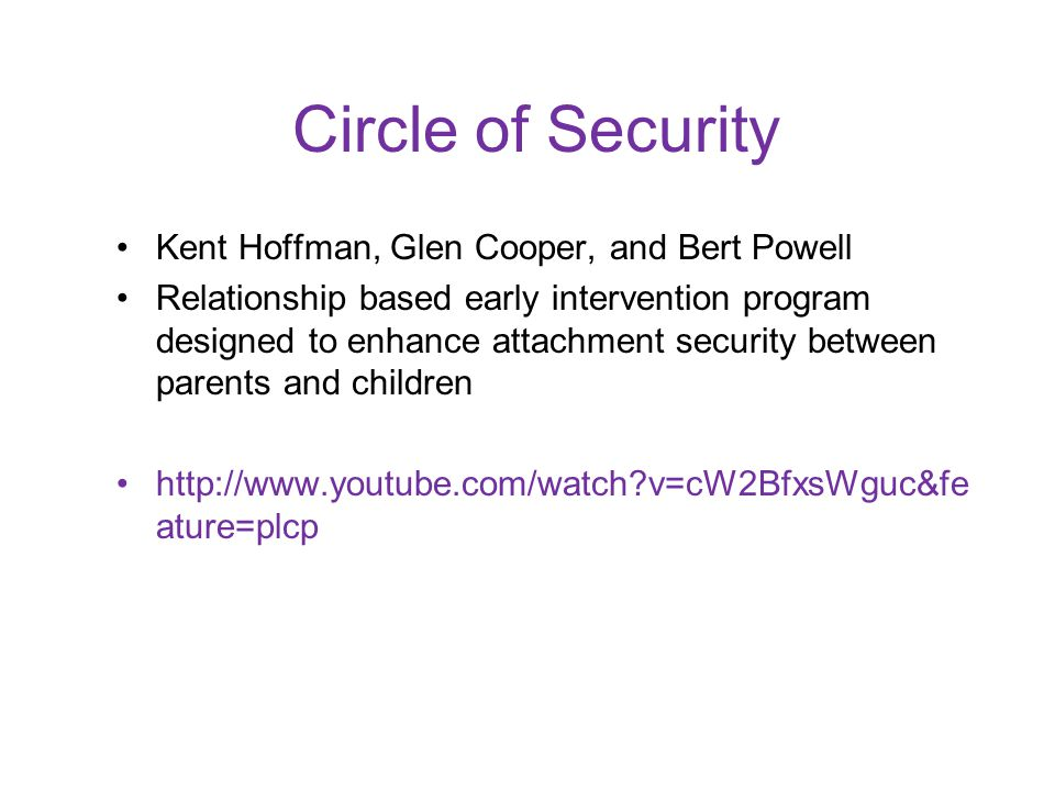 Circle of Security Kent Hoffman, Glen Cooper, and Bert Powell