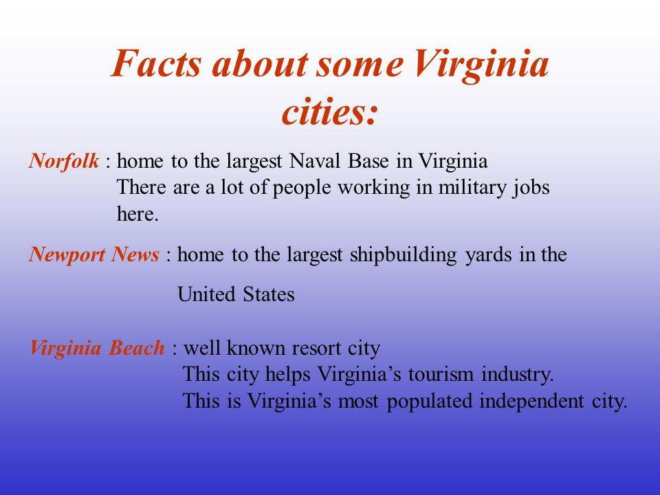 Facts about some Virginia cities: