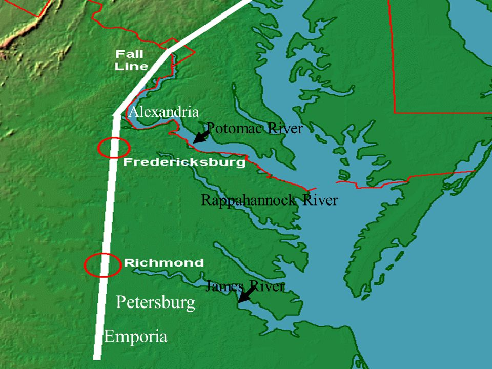 Petersburg Emporia Alexandria Potomac River Rappahannock River