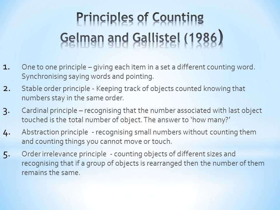 Principles of Counting Gelman and Gallistel (1986)
