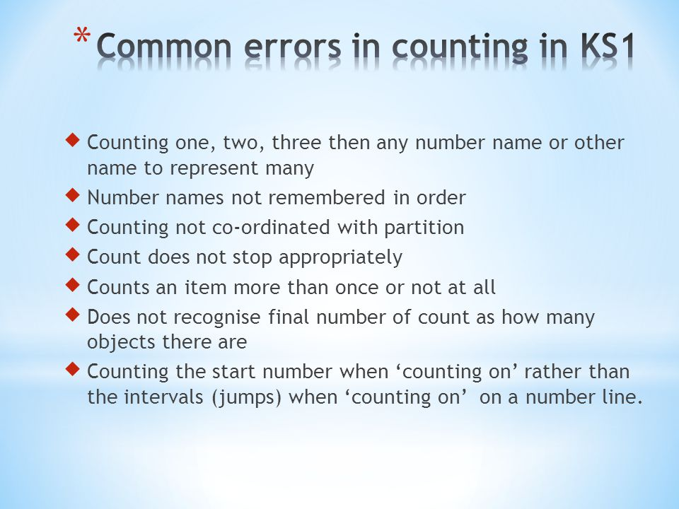 Common errors in counting in KS1