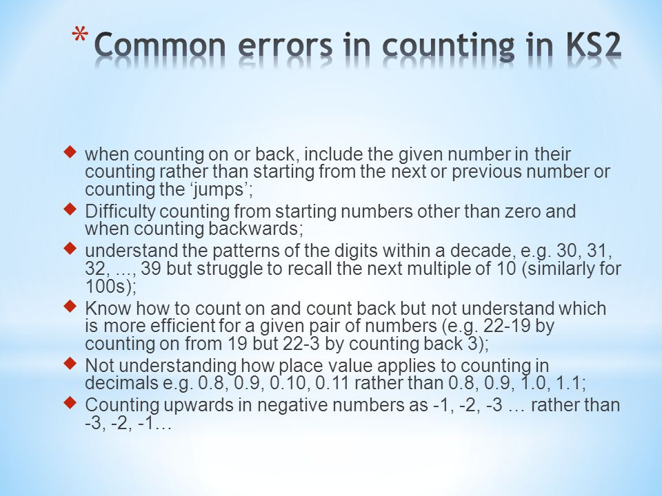 Common errors in counting in KS2