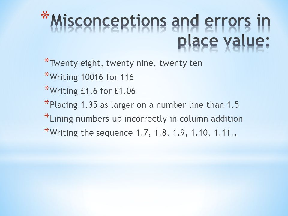 Misconceptions and errors in place value:
