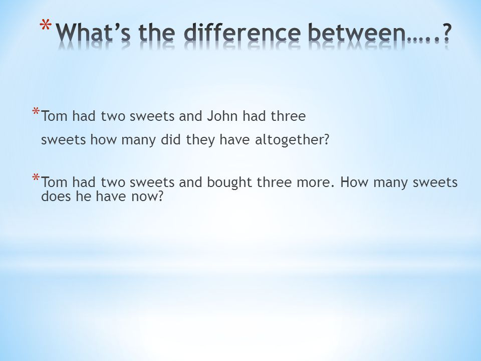 What's the difference between…..