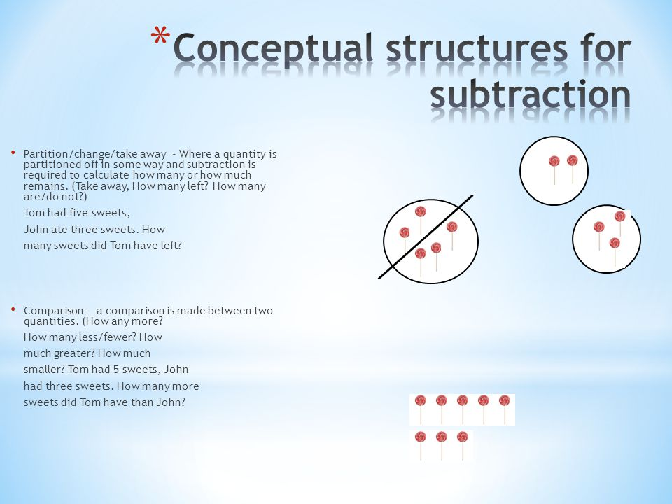 Conceptual structures for subtraction